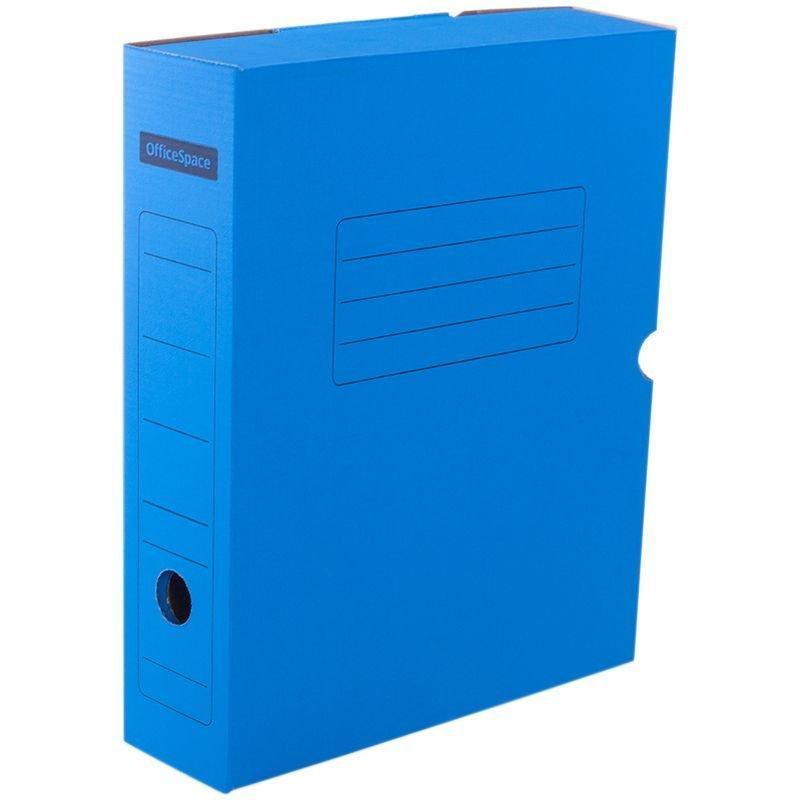 Короб архивный 75мм 700л с клапаном микрогофрокартон синий 325х253х75мм OfficeSpace