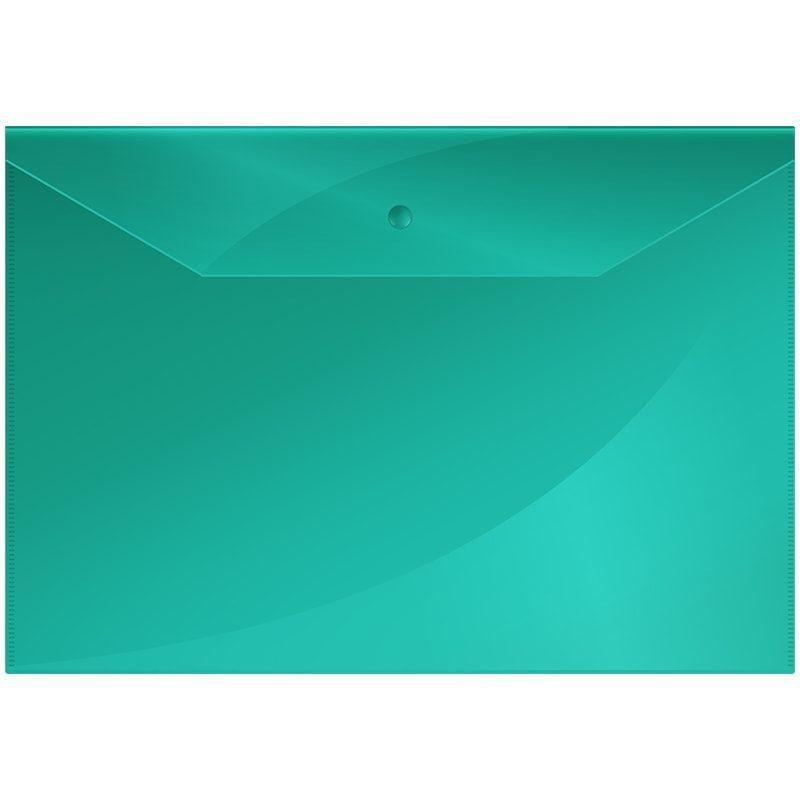 Папка-конверт с кнопкой А4 OfficeSpace 0,15мм зелёная