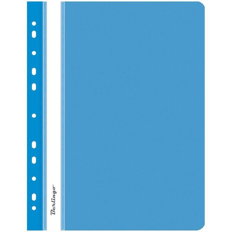 Папка с прозрачным верхним листом Berlingo с дополнительной перфорацией 180мкм синяя