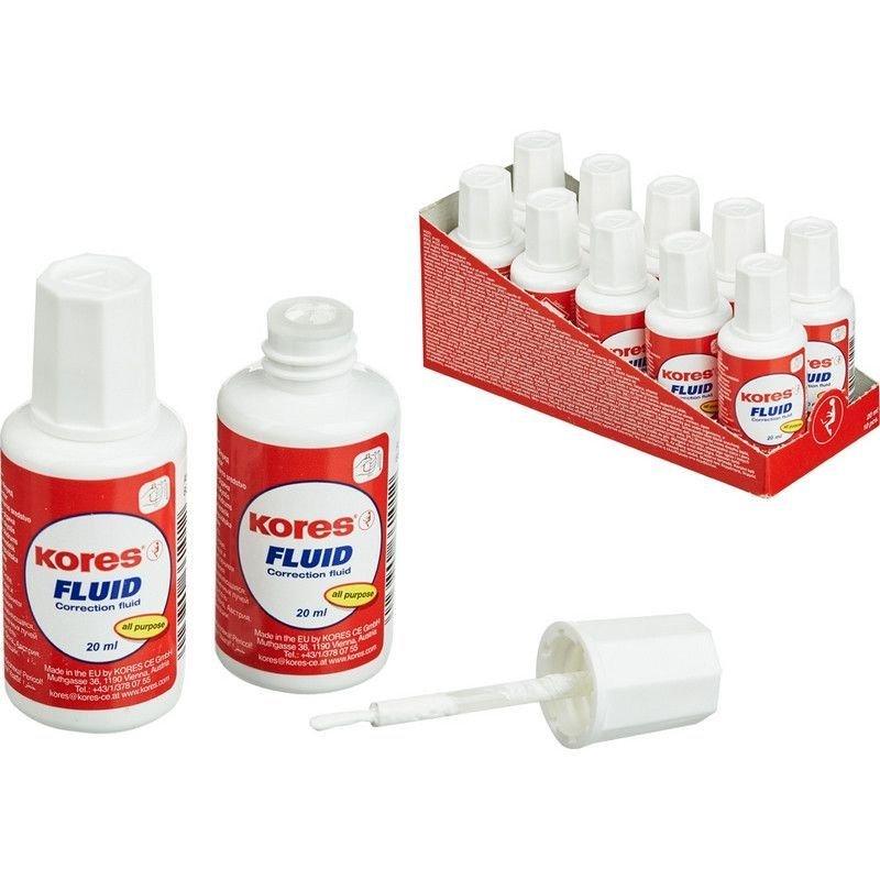 Корректирующая жидкость Kores Fluid 20мл на быстросохнущей основе с кисточкой
