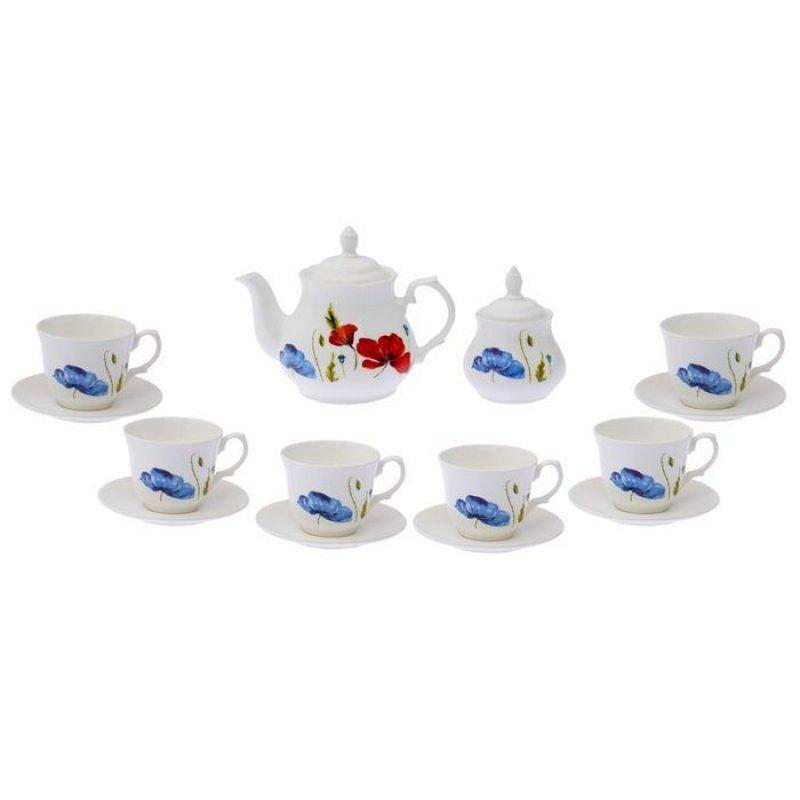 Набор чайный Арина Полевые маки 14пр фаянс