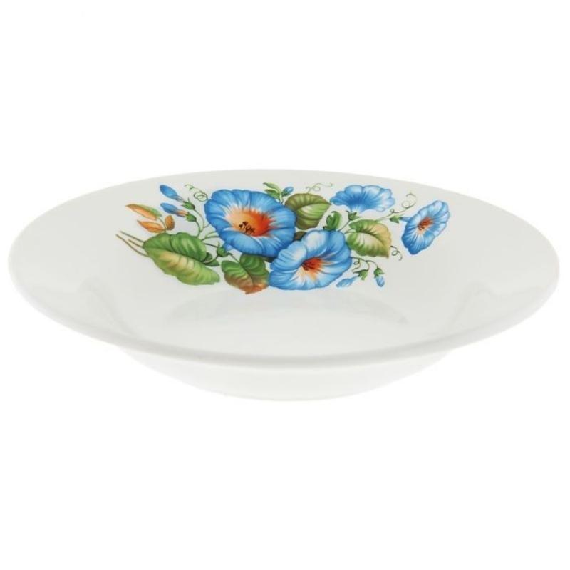 Тарелка 200мм Синий цветок глубокая фаянс
