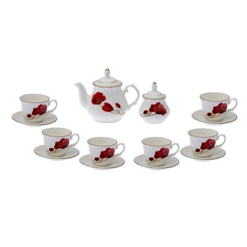 Сервиз чайный Арина Маки золотые 14пр фаянс
