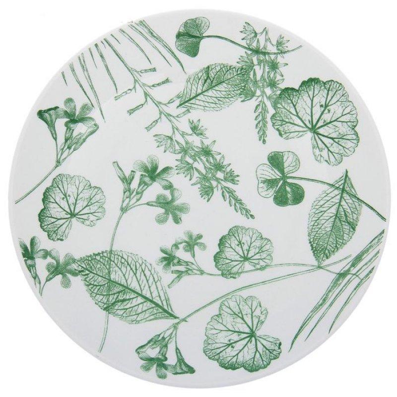 Тарелка 190мм Соната Гербарий-травы зелёный