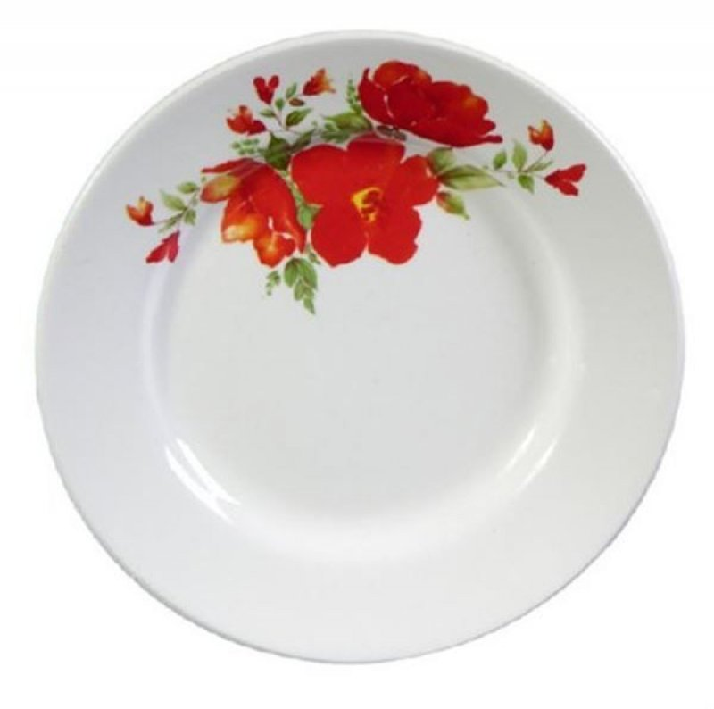 Тарелка 200мм Красный цветок мелкая фаянс