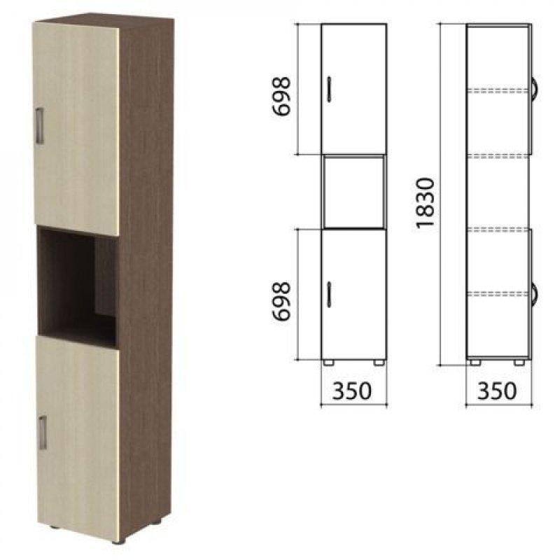 Шкаф полузакрытый Канц 350х350х1830мм цвет венге/дуб молочный