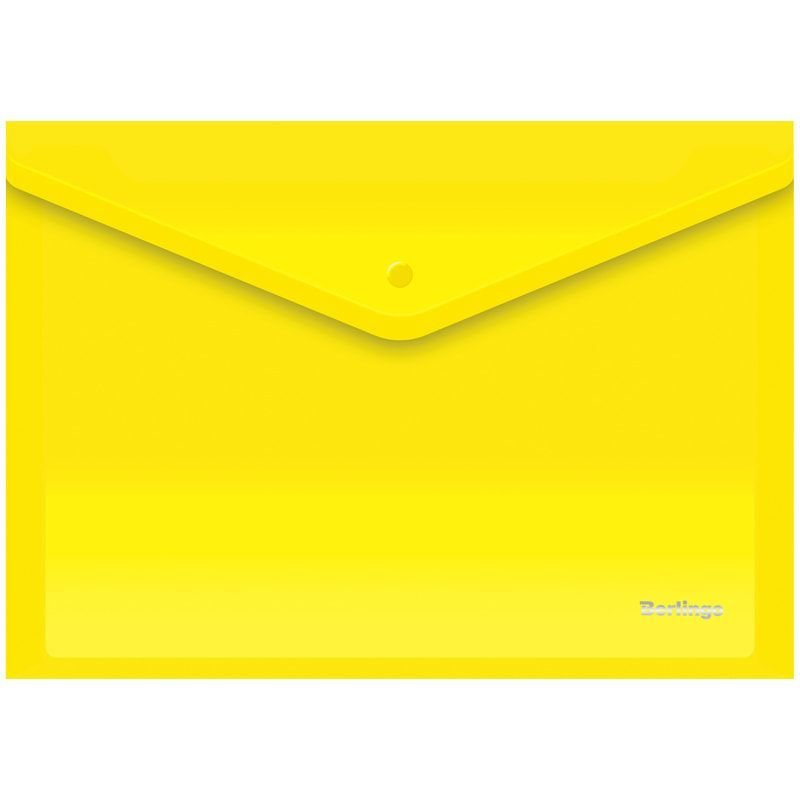 Папка-конверт с кнопкой А4 Berlingo 0,18мм желтая