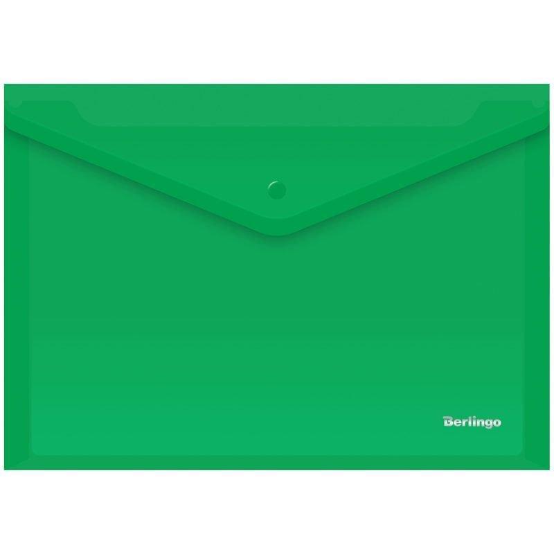 Папка-конверт с кнопкой А4 Berlingo 0,18мм зеленая