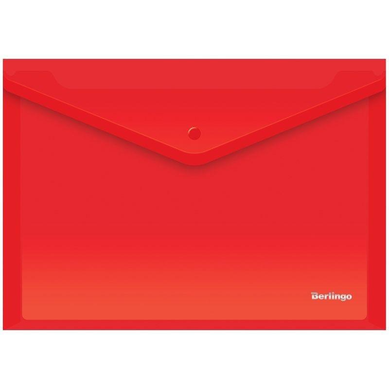 Папка-конверт с кнопкой А4 Berlingo 0,18мм красная