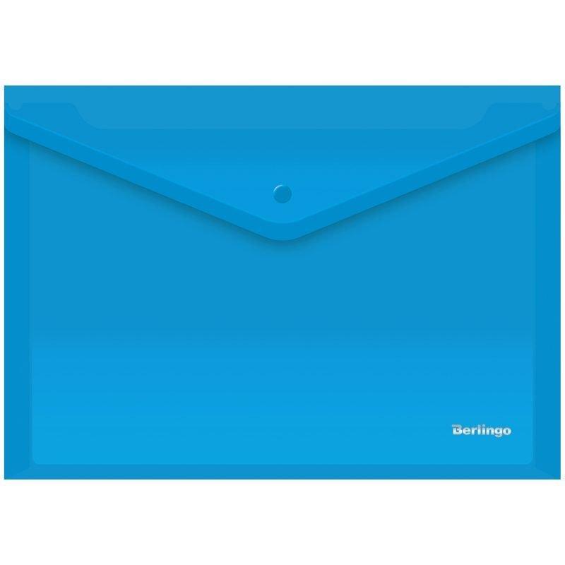 Папка-конверт с кнопкой А4 Berlingo 0,18мм синяя