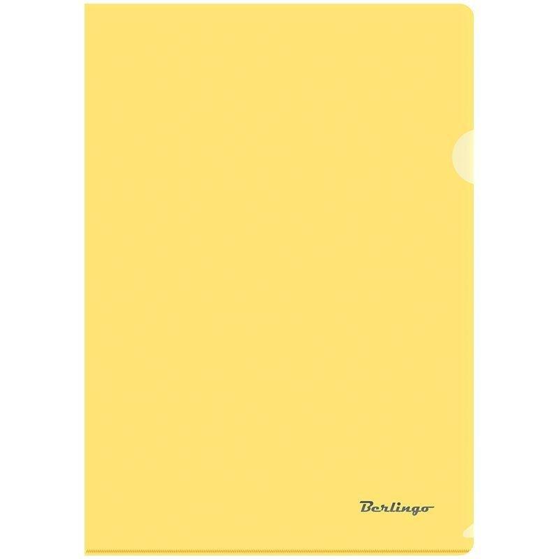 Папка-угол (карман) Berlingo 0,18мм прозрачная желтая