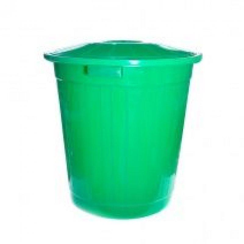 Контейнер для мусора 60л пластик с крышкой зелёный