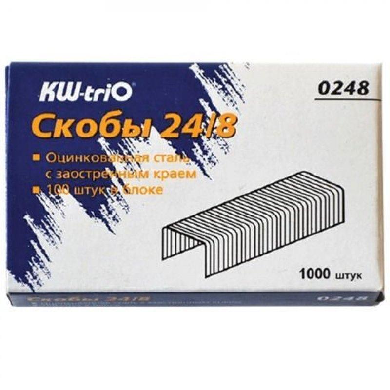 Скобы для степлера №24/8 KW-trio 1000шт/уп оцинкованные до 50 листов