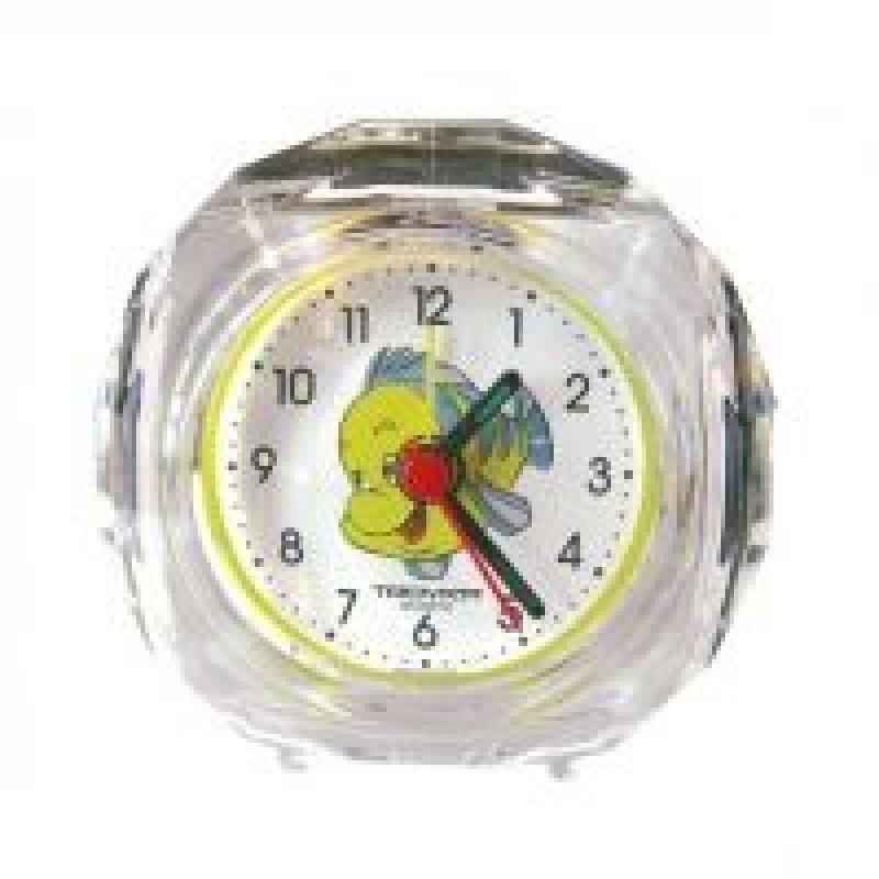 Часы-будильник В-Тройка круг прозрачные рыбка
