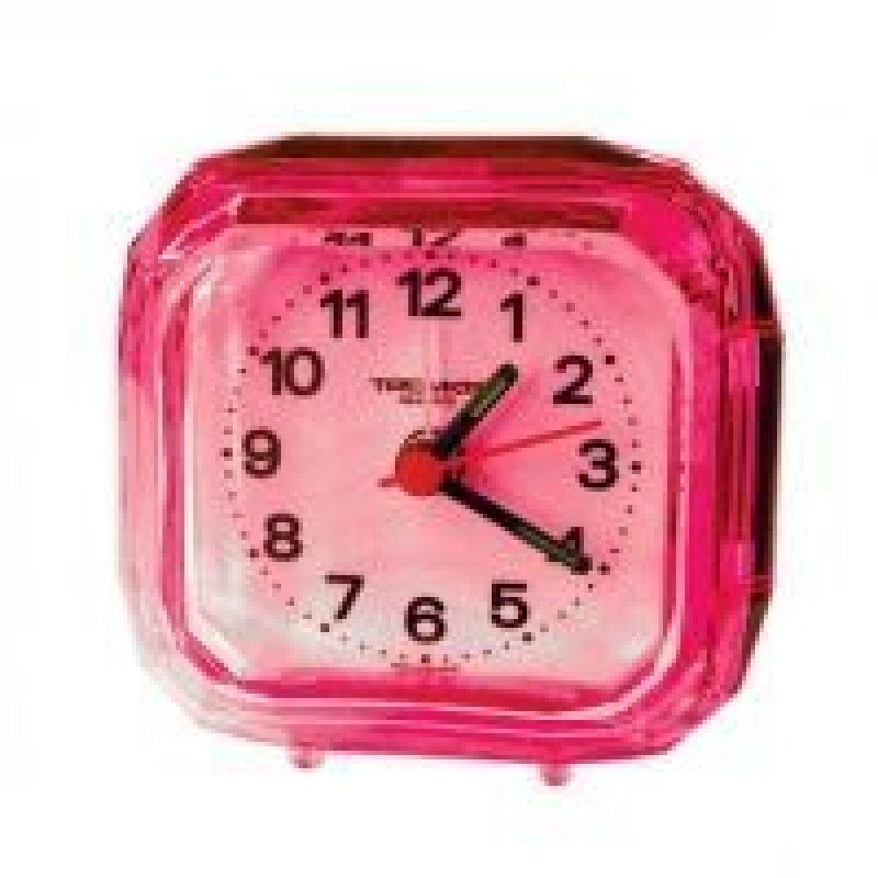 Часы-будильник В-Тройка квадрат розовые