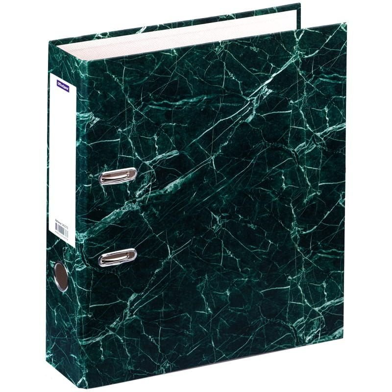 Папка-регистратор 70мм OfficeSpace мрамор зелёная