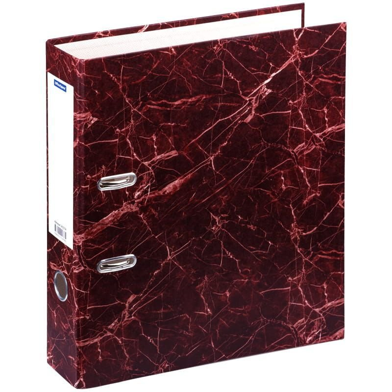 Папка-регистратор 70мм OfficeSpace мрамор красная