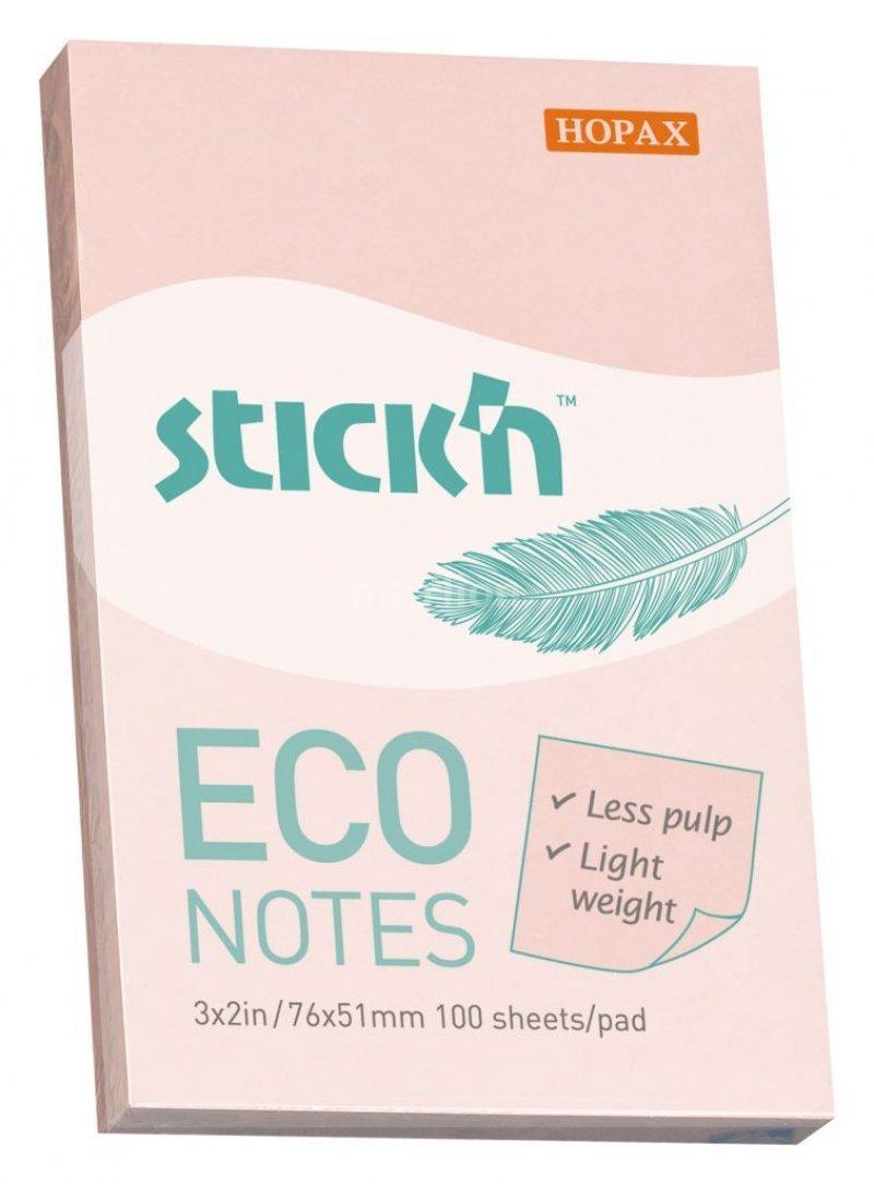 Блок для записей самоклеящийся 76х51мм Hopax Eco 100л пастель розовый