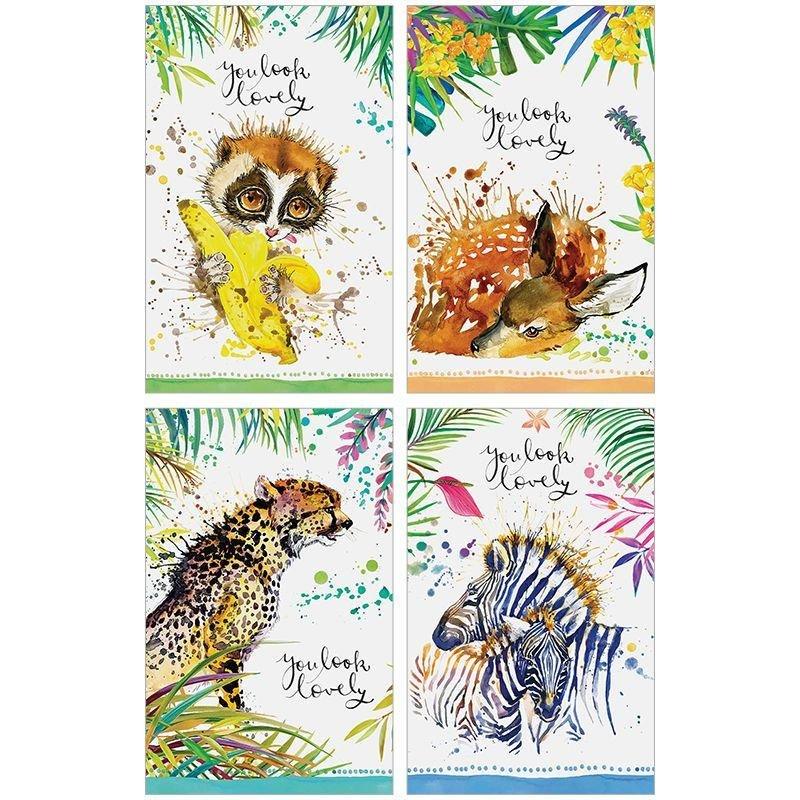Блокнот А7 48л Животные Милые акварели