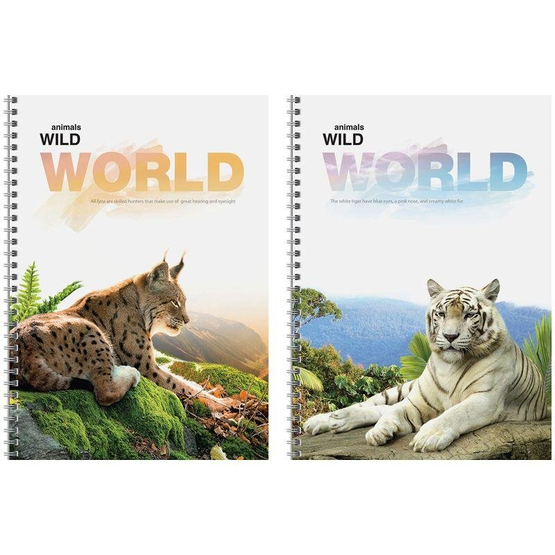 Тетрадь А4 96л Животные Wild world клетка гребень