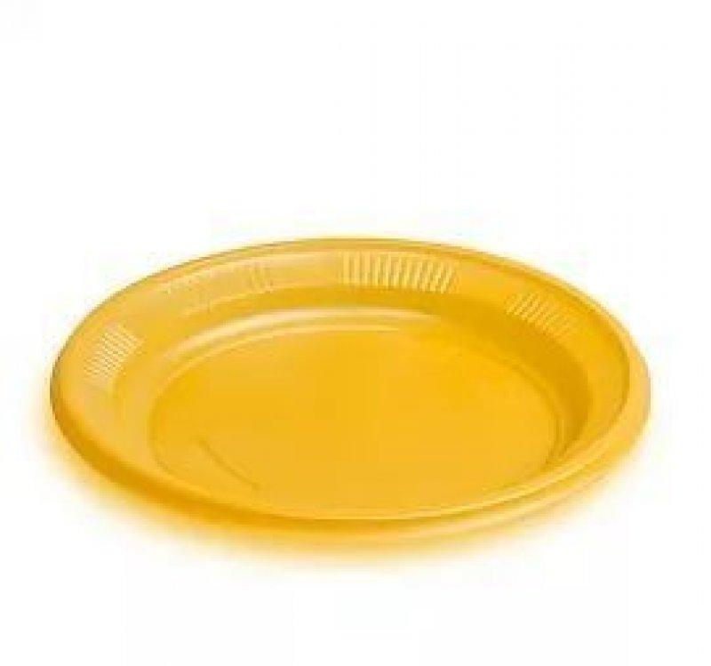 Тарелка одноразовая плоская 205мм желтая
