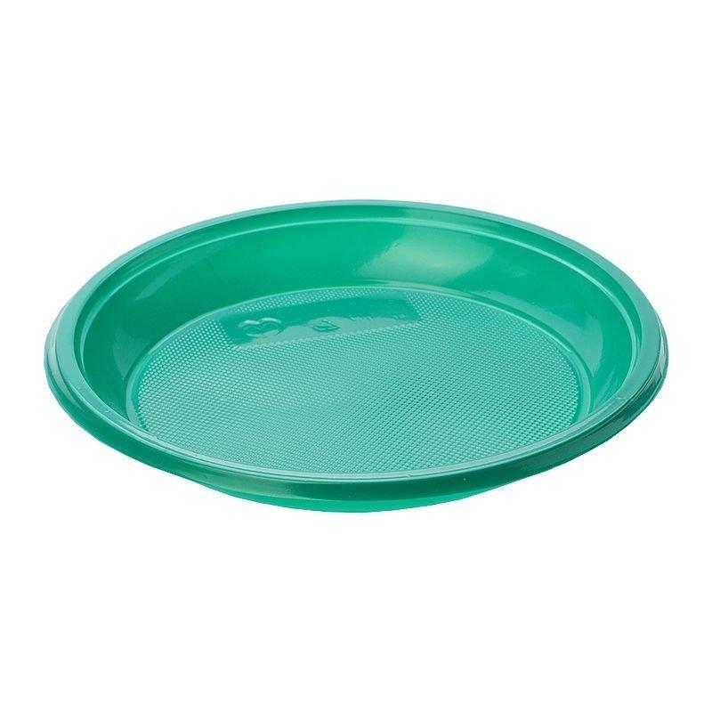 Тарелка одноразовая плоская 205мм зеленая
