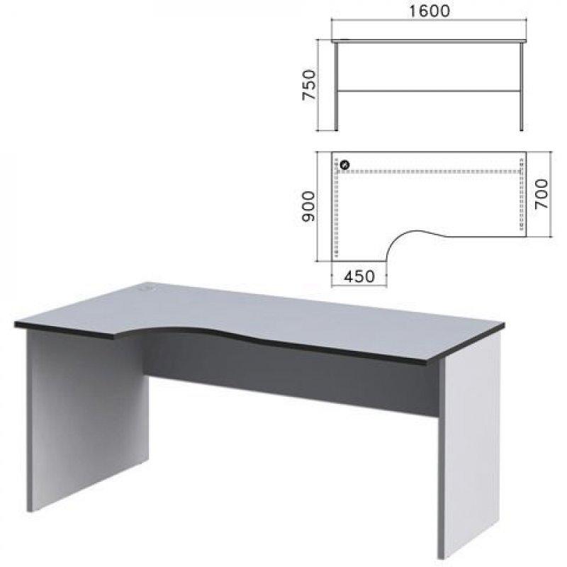 Стол письменный Монолит 1600х900х750мм эргономичный левый серый