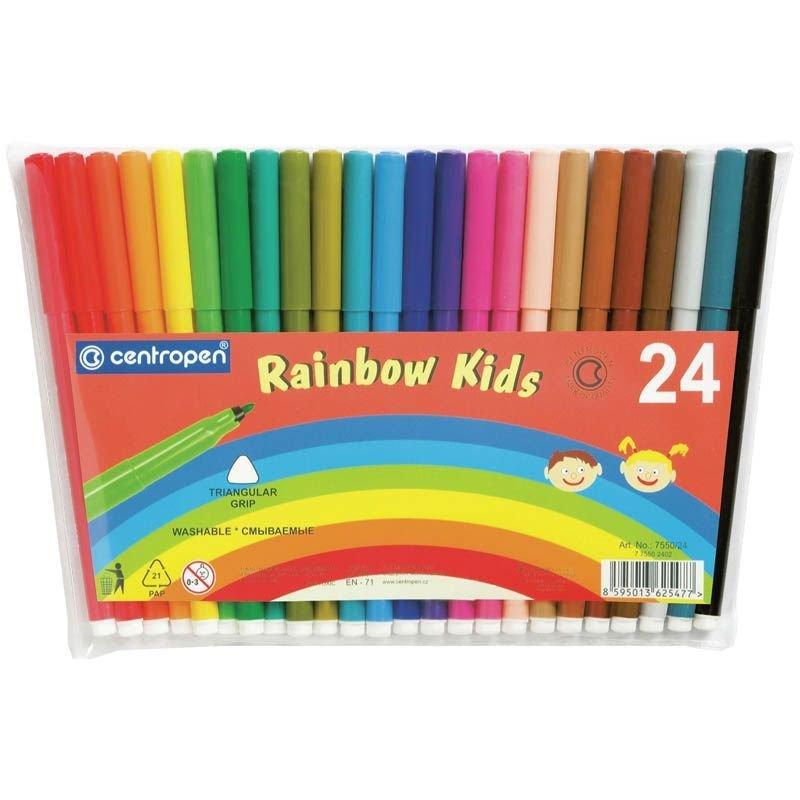Фломастеры 24цв Rainbow Kids трехгранные пласт/уп