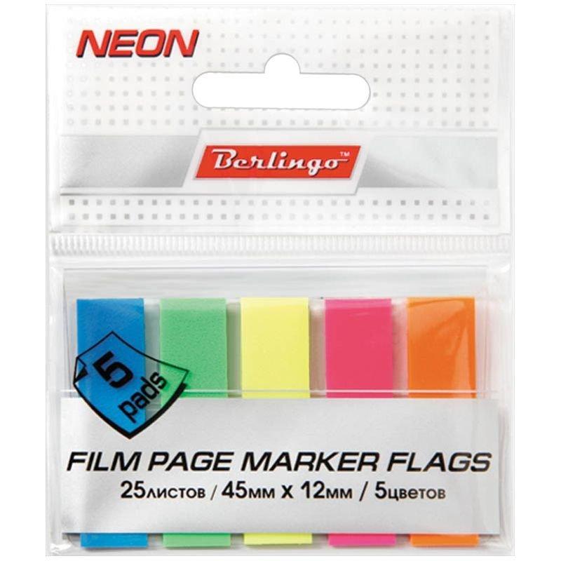 Закладки самоклеящиеся 45х12мм Berlingo пластиковые 5цветов по 25л неон