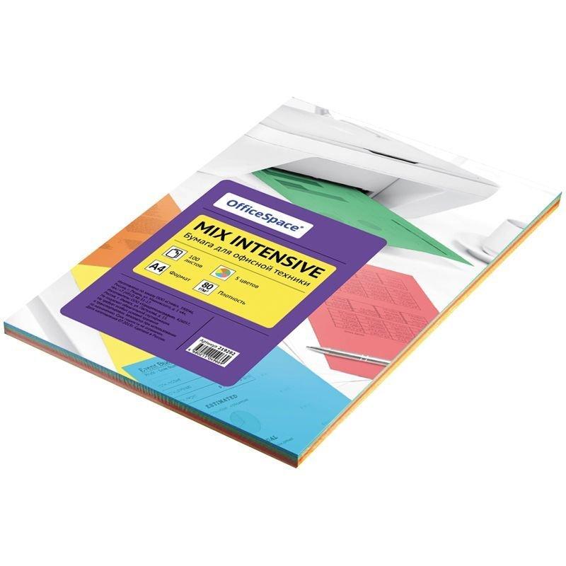 Бумага цветная А4 80 г/м2 100л/5цв