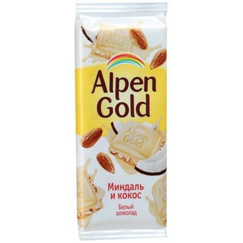 Шоколад Alpen Gold белый миндаль и кокос 90г