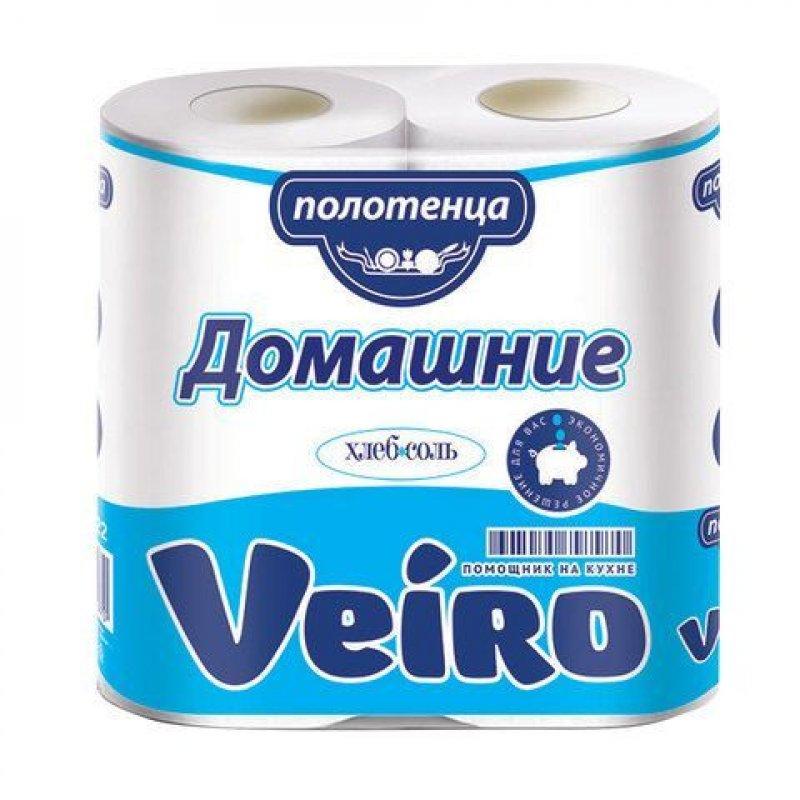 Полотенце бумажное Veiro Домашние 2-сл 2рул/уп белое тиснение