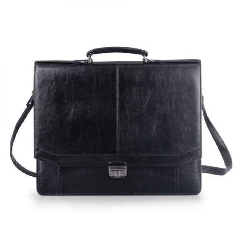 Портфель Алекс Бизнес 41×34×10 см искусственная кожа 3 отделения замок с ключом черный