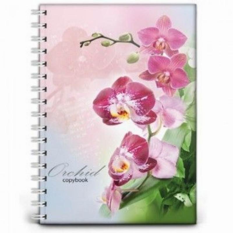Тетрадь 120л А4 Орхидея гребень твердый переплет