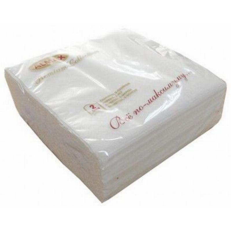 Салфетки 50л Almax Premium Collection 24х24см 2сл белые