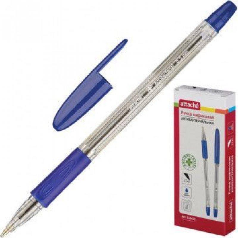 Ручка шариковая Attache Antibacterial А03 0,5мм резиновый держатель прозрачный корпус масляная синяя
