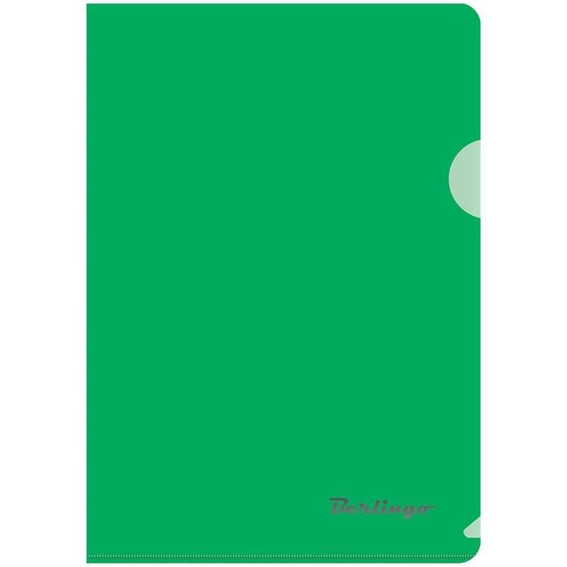 Папка-угол (карман) Berlingo 0,18мм прозрачная зеленая А5