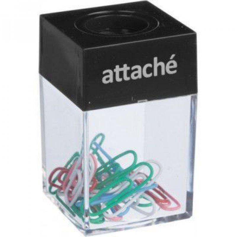Скрепочница магнитная Attache прозрачная с черной крышкой +20 скрепок