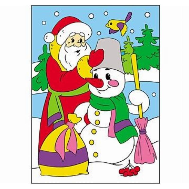 Раскраска блестками А4 Дед мороз и снеговик - купить по ...