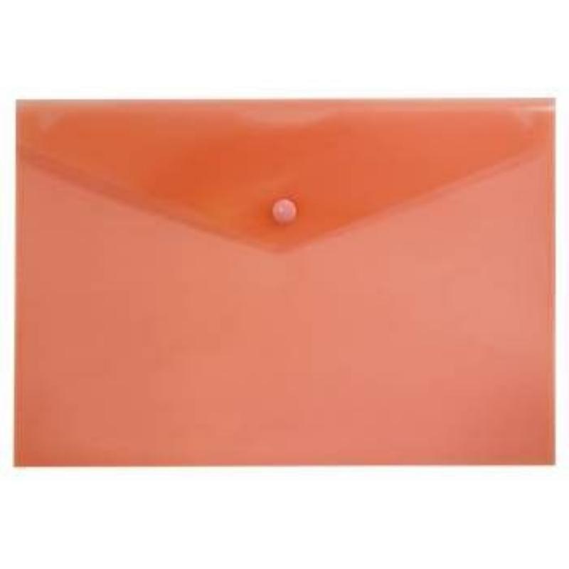 Папка-конверт с кнопкой А4 Бюрократ 0,18мм  красная