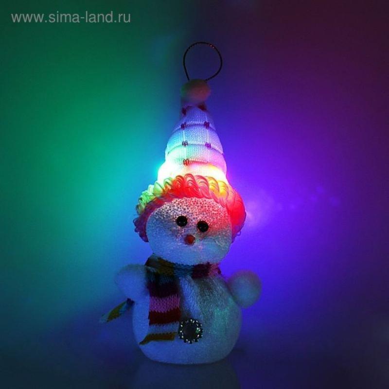 Игрушка Снеговик в розовой шапочке