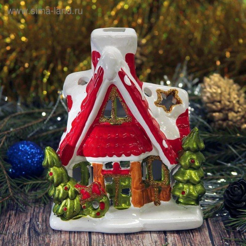 Сувенир подсвечник Новогодний домик