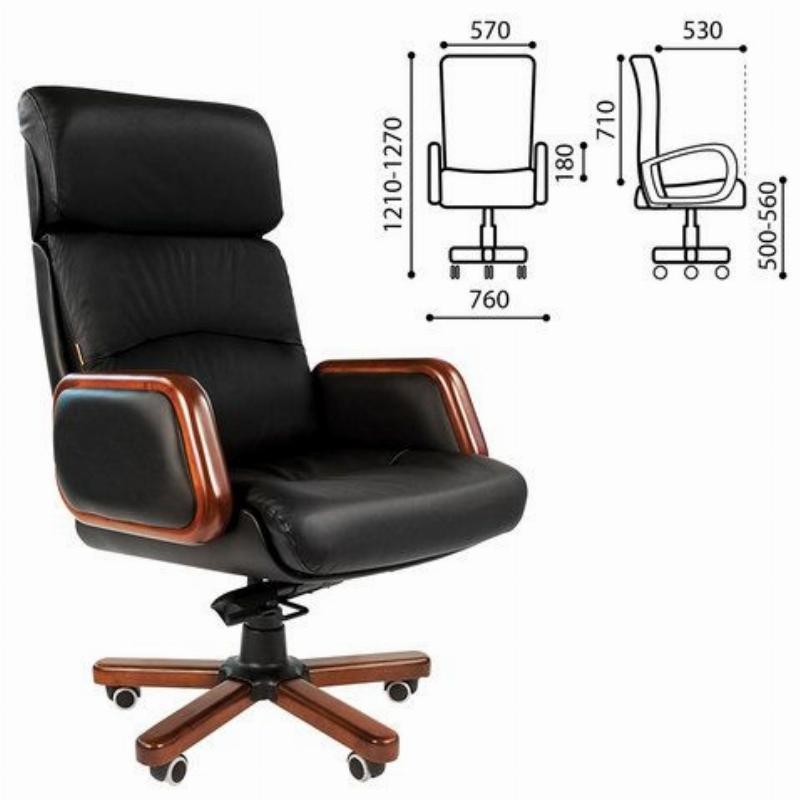 Кресло руководителя Chairman 417 PL с подлокотнками кожа черное