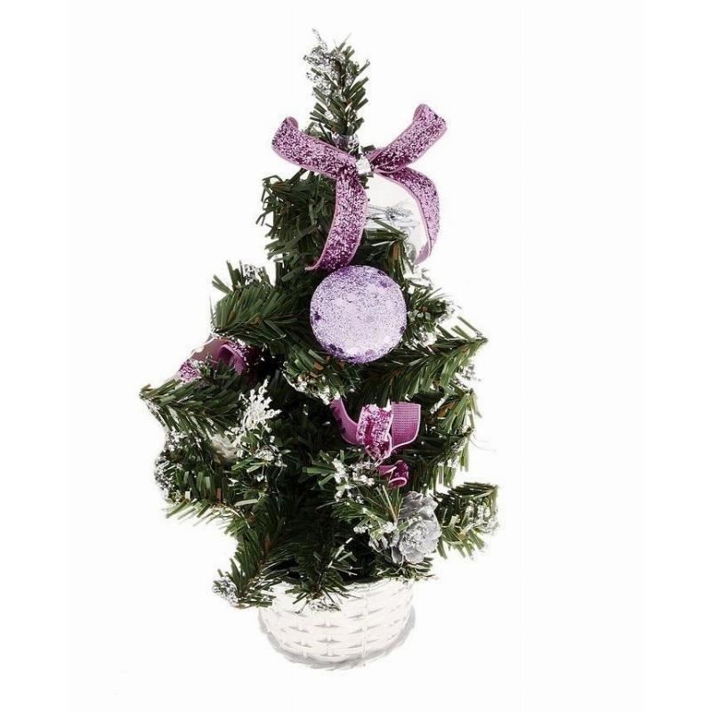 Елка 20см декор фиолетовый в горшочке настольная