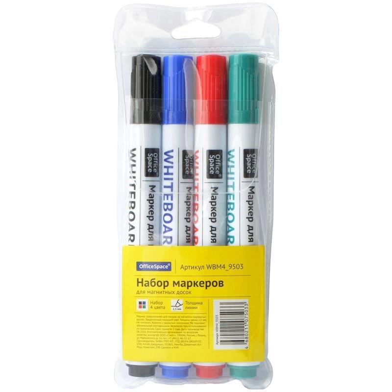 Набор маркеров для доски Оffice Space 4цв 2,5мм пулевидный