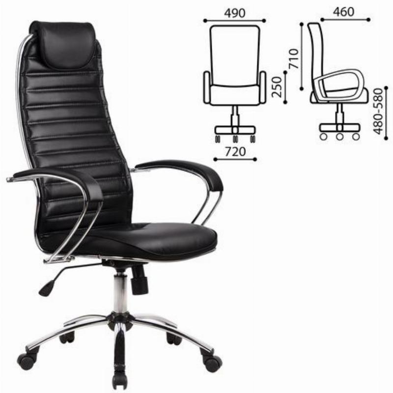 Кресло руководителя Метта BC-5CH с подлокотниками экокожа черное