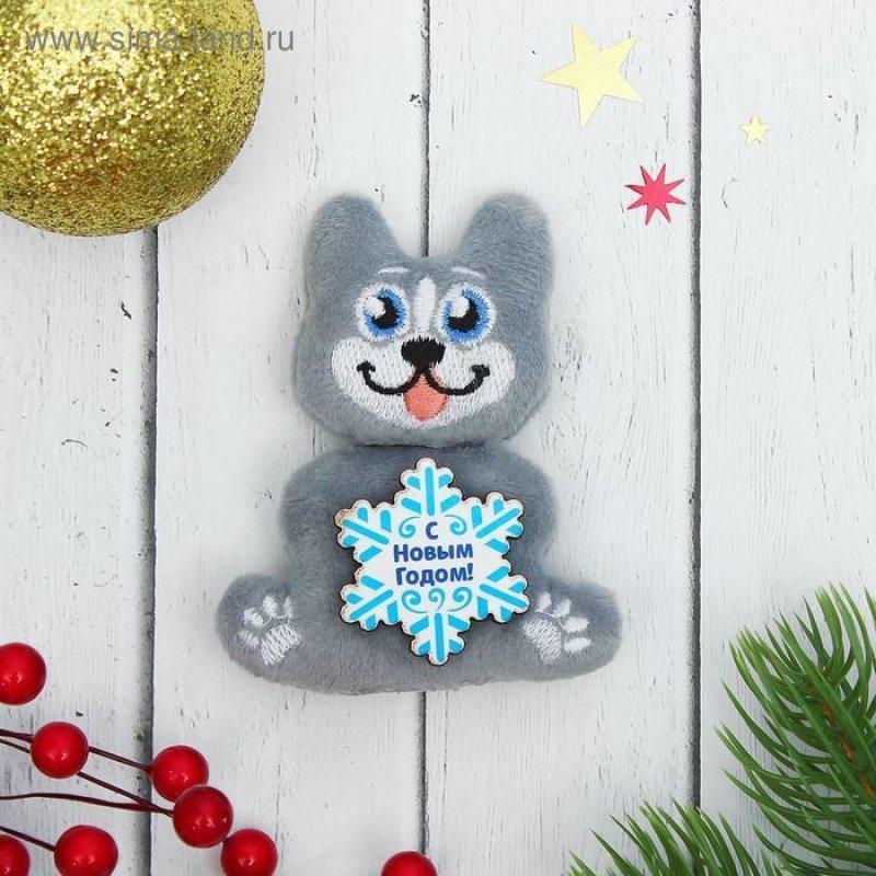 Магнит Мягкая игрушка Символ года со снежинкой