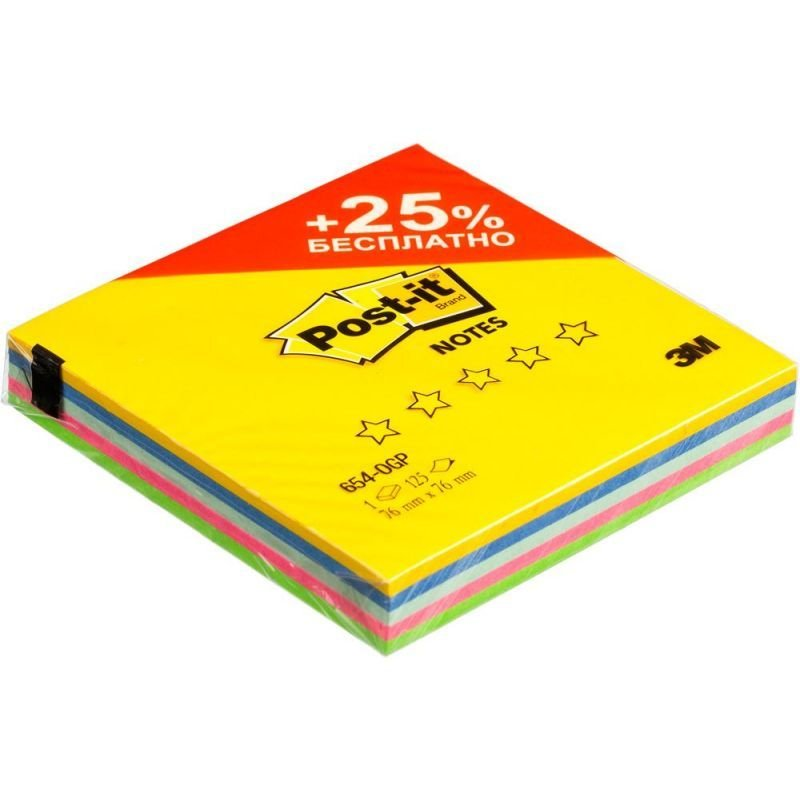 Блок для записей самоклеящийся 76х76мм Post-it 125л неон 5 цветов Original Весна