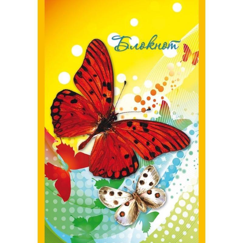 Блокнот А7 40л Яркие бабочки гребень