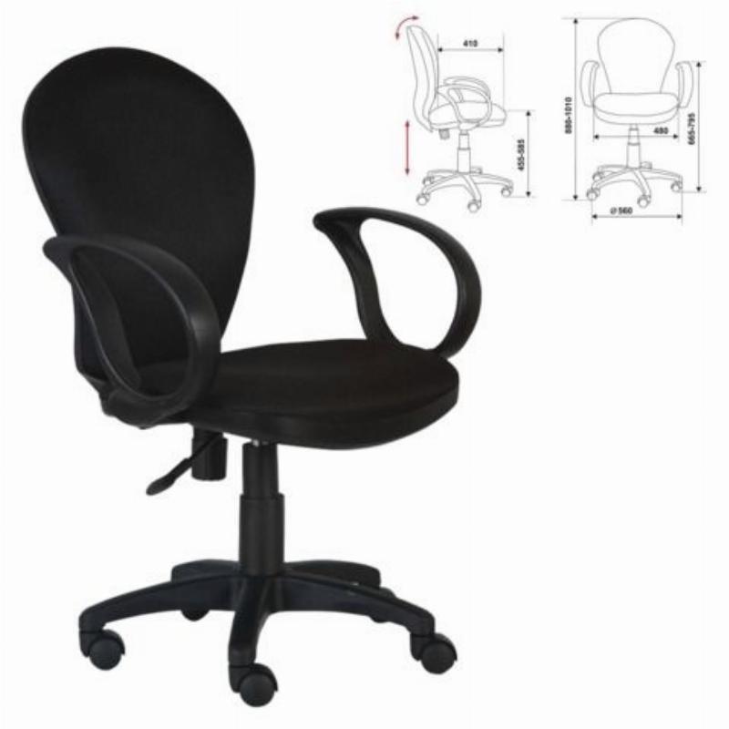 Кресло для оператора Бюрократ CH-687AXSN c подлокотниками ткань черное